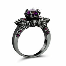 Ladies Badass Black Platinum Plated Amethyst skull Ring size 8