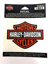 Calcomanía Harley Davidson Barra y Escudo Naranja y Negro Mediano Genuino Nuevo D3023