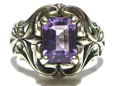 ORNATE LARGE STYLE KABANA STERLING SILVER & AMETHYST WOMENS RING SIZE 8.25