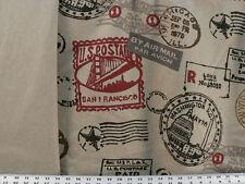 Drapery Upholstery Fabric Global Postmarks on Natural Rustic Burlap / Linen