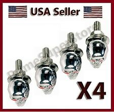 New chrome Skull License Plate Frame Fasteners Chopper Motorcycle car Tag Bolts