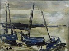 Georges LAPORTE (1926-2000) huile sur carton fin les Régates P1770