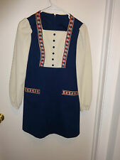 Vintage Women's or Juniors Navy & Cream Mini Dress Size 8??