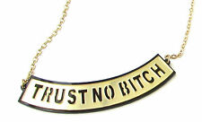 Black and Gold TRUST NO BITCH Necklace Nicki Minaj Barbie Statement Bling B99