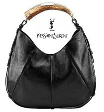 Yves Saint Laurent  YSL:  Black Leather  Mombasa Horn Handle Bag