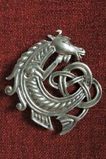 Celtic Horse Seahorse Endless Knotwork Irish SCA Medieval Pewter Pendant Brooch