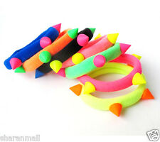6 Pcs New Popular Hair Rope Attractive Neon Color Spike Rivet Rubber Band Girls