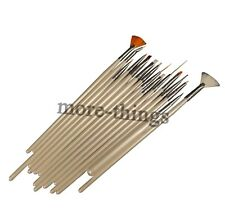 15 pcs Natural Flat Dotting Fan Brush Nail Art Brushes Pen Tool Kit New