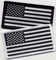 American Flag USA Stars and Stripes Black and White Badge Patch 8.2cm x 4.5cm