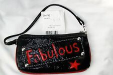 NWT Brighton Fabulous Black Patent& Red Leather Pouch Wrist-let Bag