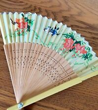 Vintage Bamboo Hand Fan with Floral Bird Print