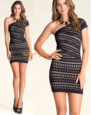 NWT bebe XXS XS black one shoulder slash nude overlay lace top dress bodycon hot