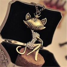Hot Vintage Bronze Sexy Charm Cat Crystal Necklace Sweater Long Chain Pendant