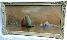 """V. Deschamps"" a/k/ as ""James Swinton Diston"" Watercolor Painting Boating Scene"