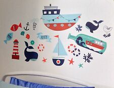 NURSERY WALL STICKER DECALS NAUTICAL BOAT WHALE THEMED REMOVABLE 22 STICKERS