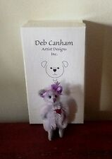 """DEB CANHAM """"MISSY"""" PURPLE MINI MOHAIR MOUSE WITH RED HEART PATCH- 2 1/4"""" TALL"""
