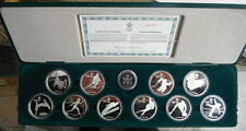 CANADA 1988 CALGARY OLYMPIC WINTER GAMES STERLING SILVER COINS SET **10 PCS**