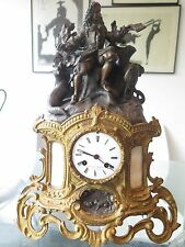 Stunning 18th/19th Century Bronzed Figural over Ormolu Gilded Brass Mantle Clock