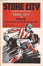 Football Programme - Stoke City v Fulham - Div 1 - 1967