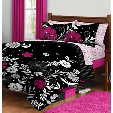 Bedding Set Full For Teens Black/Pink Floral Reversible Bed In a Bag Microfiber