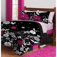 Bedding Set Twin For Teens Black/Pink Floral Reversible Microfiber Bed In a Bag