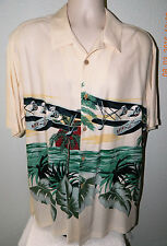 Falls-Creek Island Camp Sea Plane Tropical Hawaiian Shirt Cruisewear L Washable