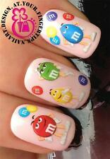 NAIL ART WATER TRANSFERS STICKERS DECALS SET CHOCOLATE PEANUT FIGURES SWEETS 473