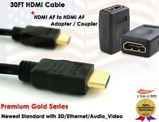 Yellowknife Gold Series -30FT 1.4v GOLD-PLATED HDMI + HDMI F/F Extension Coupler