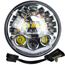 "7"" Motorcycle Chrome Integrated Projector Daymaker Headlight LED Light Harley"