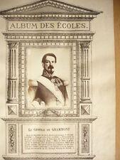 LE GÉNÉRAL DE GRAMMONT GRAVURE 1874 AVEC PHOTO ORIGINALE COLLÉE
