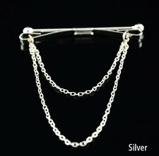 Stylish Men Silver Gold Shirt Collar Clip Bar Pin Clip Chain Tie Brooch Neckties