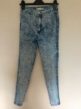 Womens High Waisted, Skinny, Acid Bleach Wash Denim Jeans