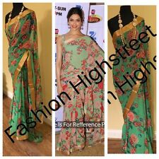 UK- Stunning Indian Designer Bollywood Deepika printed Green partywear Saree