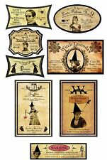 Assorted Halloween witch apothecary bottle label glossy paper set of 8