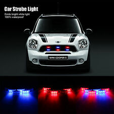 6pcs 3-LED Car Grille Emergency Warning Strobe Light Flash Dash Police Blue Red