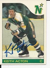 Signed Keith Acton Minnesota North Stars 85-86 O-PEE- CHEE Score Hockey Card #82