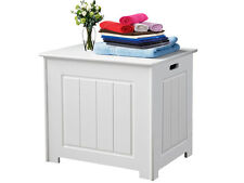 BATHROOM WOODEN STORAGE BOX BASKET CHEST CORNER CABINET CUPBOARD LAUNDRY WHITE