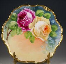 Beautiful  Limoges France Rose Plate Gold Trim Artist Signed