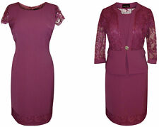 BERRY PURPLE LACE MOTHER OF THE BRIDE OUTFIT 2 PIECE FORMAL JACKET DRESS SIZE 16