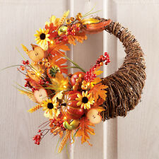 "16"" Dia. Lighted Thanksgiving Cornucopia Welcome Door Wreath"