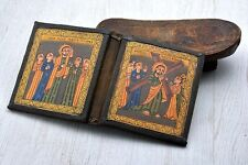 Hand Crafted Ethiopian painted Christian icon Coptic wood Processional
