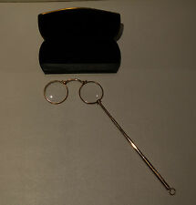 Antique 9K Gold Lorgnette Folding Opera Glasses