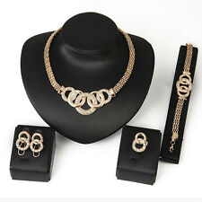 Women Gold Plated Jewelry Set Crystal Necklace Bracelet Earrings Ring X241