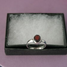 Beautiful 925 Silver Ring With Faceted Garnet  1.4 Gr. Size  L - P  In Gift Box