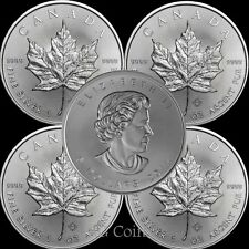 5 x 2017 Canadian 1 oz maple leaf 999.9 Silver Bullion Coin.