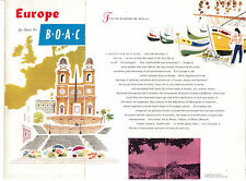 EUROPE FLY BY B.O.A.C. BRITISH OVERSEAS AIRWAYS CORPORATION PIEGHEVOLA ANNI '50
