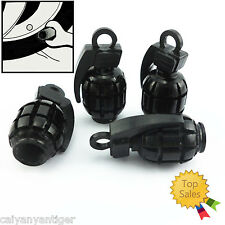 4 Pcs Grenade Bomb Style Black Ford Wheel Tyre Tire Valve Stems Caps Air Covers