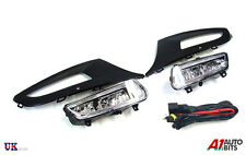 FRONT BUMPER FOG LIGHT GRILL LAMPS L&R FOR VW POLO MK8 6R 09-14 + WIRING KIT SET