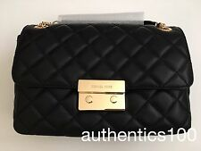 $328 NEW MICHAEL KORS LARGE SLOAN QUILTED LEATHER CHAIN SHOULDER BAG BLACK GOLD