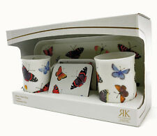 Roy Kirkham Butterfly Garden 2 Bone China Mugs 2 Coasters 1 Melamine Tray Set